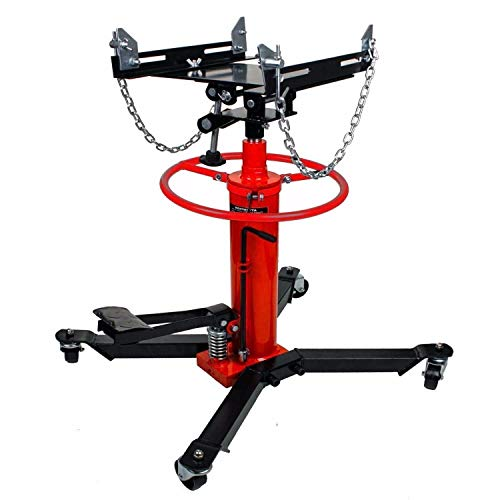 NANI Strongway 2 Stage Hydraulic Telescoping Transmission Jack Stand Gearbox Lifter Hoist W/Pedal 360° Swivel Wheel Lift Hoist, 4-Legs Swivel Casters, Wide Base Long Chain - 1/2 Ton Capacity (1000lbs)