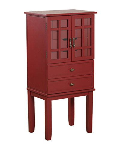 Powell 14J8038RE Glass Door Jewelry Armoire, Red ()