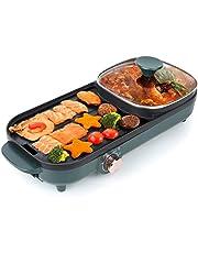 Uten Hot Pot Barbecue 2 in1 multifunctionele dubbele scheiding Koreaanse barbecue Hot Pot, elektrische indoor rookloze grill voor eenvoudige reiniging voor 2-12 personen