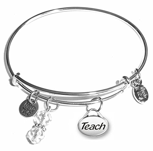 Message Charm (Choose Message) Expandable Wire Bangle Bracelet, in the Popular Style (Teach) ()