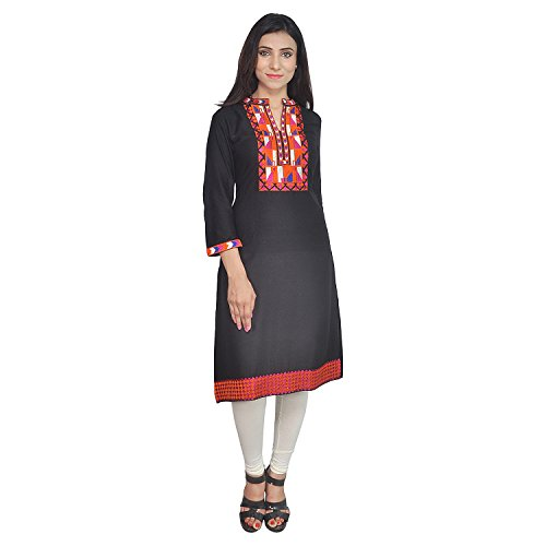 Chichi Indian Women Kurta Kurti 3/4 Sleeve Medium Size Plain with Jaipuri Embroidered Straight Black Top by CHI (Image #1)