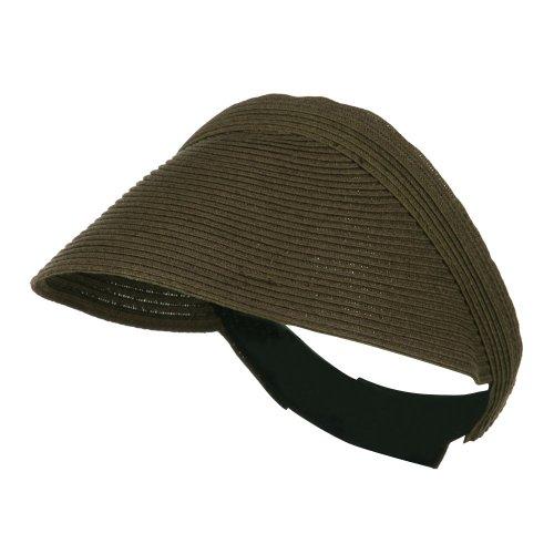 LTC Solid Toyo Paper Braid Adjustable Visor - Rustic - Braid Hat Wide Toyo