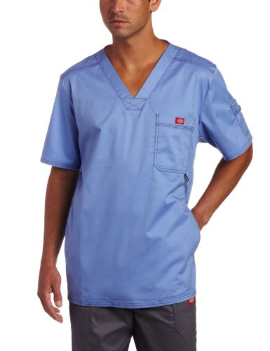 - Dickies Men's Generation Flex Utility Scrubs V-Neck Shirt, Ceil Blue, XX-Large