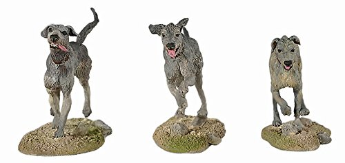 Irish Wolfhound Dogs (3) Hand Painted Metal Figures by Black Hawk The Lance 1330s Medieval Toy Soldiers BH1112 Series 1/32 Scale New in Box