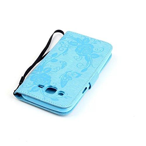 JIALUN-Personality teléfono shell Funda Samsung Galaxy J5, Modelo de la cartera de colores Patrón de la caja de la carpeta Diseño magnético Funda de la cubierta de cuero Folio PU Funda Standup para Sa Blue