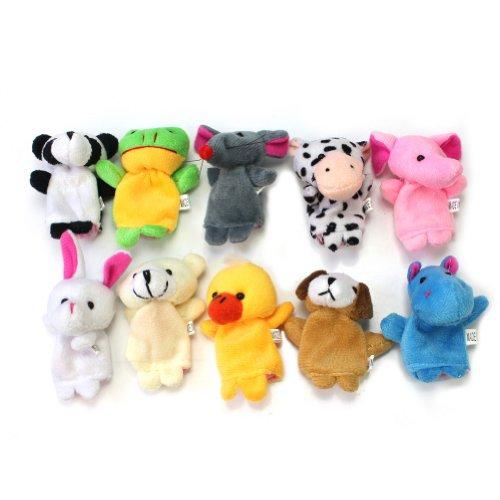10 Plüsch Fingerpuppen Fingerpuppe Handspielpuppe Spielzeug Tiere Kuh Panda Ente