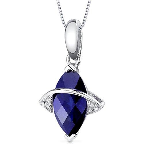 14 Karat White Gold Marquise Cut 2.28 carats Created Blue Sapphire Diamond Pendant