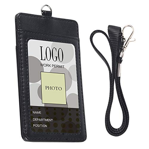Badge Holder, Arae PU Leather Vertical ID Badge Card Holder with Detachable Lanyard/Strap - Black