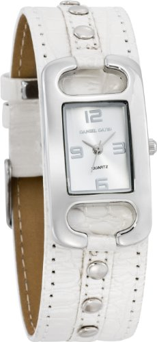 Daniel David Women's | Studded Silver-Tone Beige Cuff Watch | HA0321 (Cuff Studded Watch)