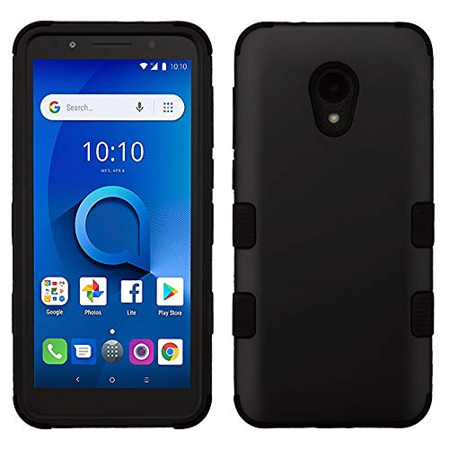 Rubberized Shield Protector Case Black (TUFF Hybrid (Military Grade Certified) Phone Protector Cover Case for Alcatel TCL LX - Black)