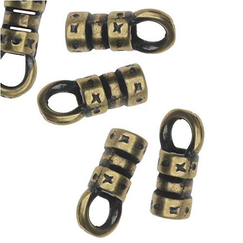 Beadaholique Cord Ends, Fancy Crimp Style with Loop, Fits 2mm Cord, 20 Pieces, Antiqued Brass