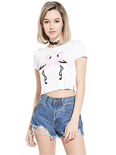 Baymate Mujer Manga Corta Camisa Corta Impresión del Pájaro Crop Top Blanco