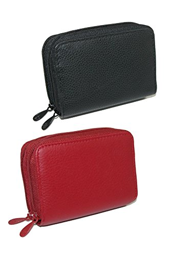 Buxton Women's Leather Mini Accordion Wizard Wallet (Pack of 2), Red Black ()