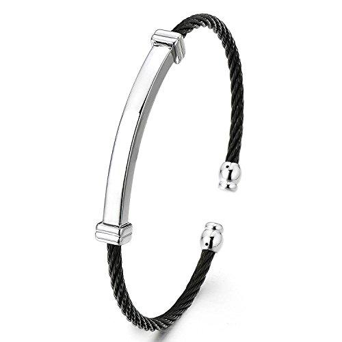 Mince Bracelet en Acier Inoxydable Pour Hommes Femme - Réglable Bracelet Manchette Câble Torsadé- Argent Noir Deux Tons