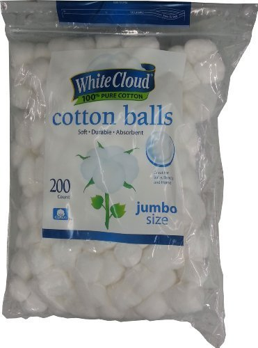 White Cloud Cotton Balls, Jumbo Size, 100% Pure Cotton, 200Ct