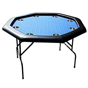 EBS 8 Players Octagon Foldable Poker Table Cup Holders Metal Folding Legs    Blue 120cm