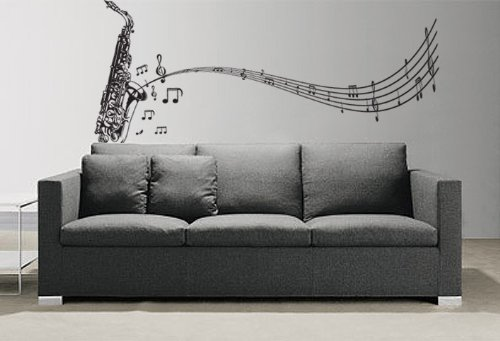 Stickerbrand Music Vinyl Wall Art Saxophone w/Music Notes Wall Decal Sticker - 72