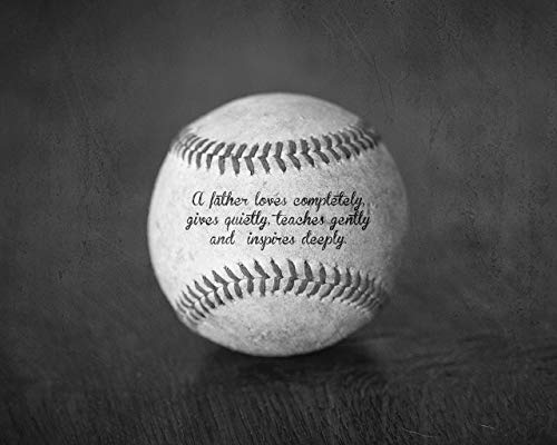 Baseball Sports Art Photo with Father Quote, Unique Home Decor Gift for Dad from Kids