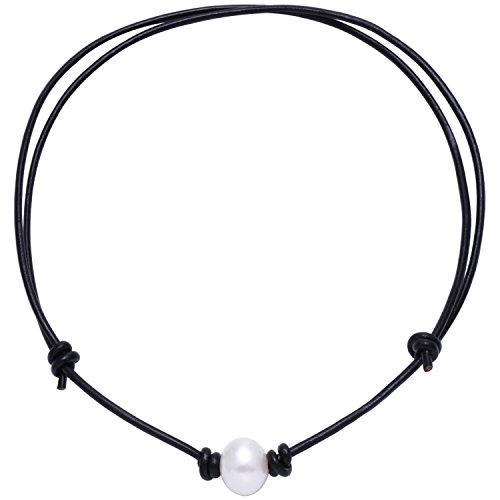 Aobei Pearl Single Cultured Freshwater Pearl Necklace Choker for Women Genuine Leather Jewelry Handmade, Black , Adjustable