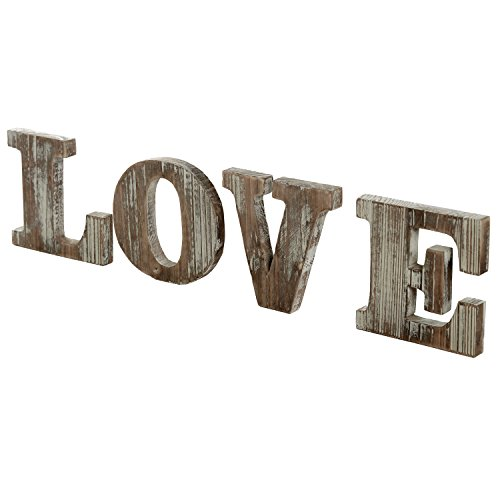 MyGift Rustic Style Torched Wood Block Cutout Letters Decorative 'Love' - Home Blocks Sign