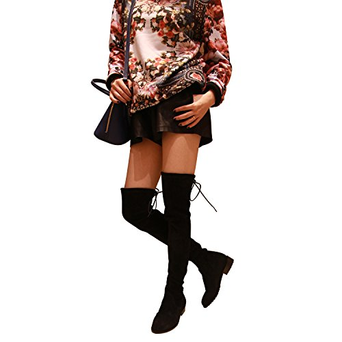 d61b4a593f8 on sale Kaitlyn Pan Women s Microsuede Flat Heel Over the Knee Thigh High  Boots