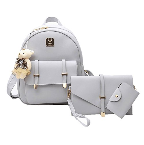 Weilong Teens School Backpack Set PU and Nylon Girls School Bags, Bookbags Set of 3, (Light Gray)