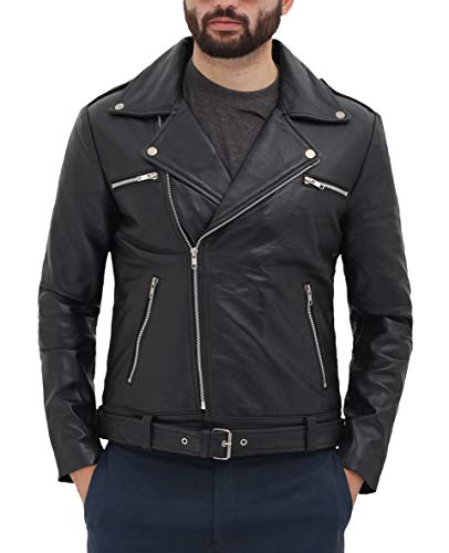 fjackets Motorcycle Leather Jacket Men - Black Real Mens Leather Jackets for Biker