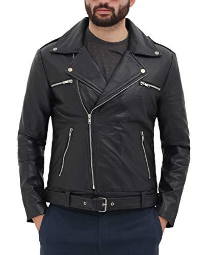 fjackets Motorcycle Leather Jacket Men - Black Real Mens Leather Jackets for Biker