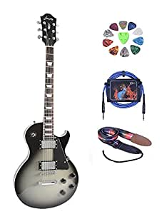 full size silver burst electric guitar 2v 2t with picks cable and strap musical. Black Bedroom Furniture Sets. Home Design Ideas