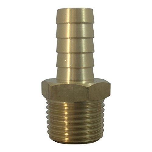 Brass Fuel Line Hose BarbKFPS Conector de gas Adaptador de manguera Espiga x Niple Terminal (1/2 Barb x 1/2 Male)