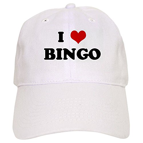 CafePress - I Love BINGO Cap - Baseball Cap with Adjustable Closure, Unique Printed Baseball Hat White -