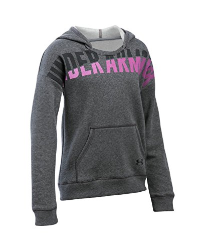 Under Armour Girls' Favorite Fleece Hoodie, Carbon Heather/Black, Youth X-Small