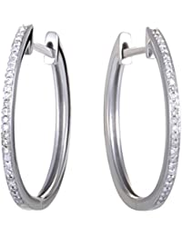 0.08 Carat (ctw) Diamond Hoop Earrings in 14K White Gold; 1/10 CT White Diamonds (G color SI1-SI2)