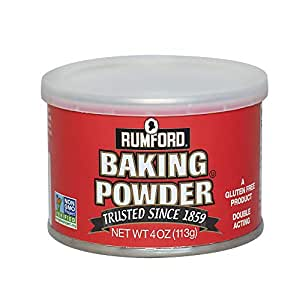 Rumford Baking Powder, NON-GMO Gluten Free, Vegan, Vegetarian, Double Acting Baking Powder in a Resealable Can with Easy Measure Lid, Kosher, Halal