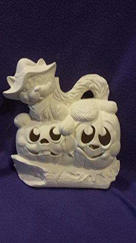 Witch Cat on Pumpkin 12'' Ceramic Bisque, ready to paint, with corded clip light by Creative Kreations Ceramics