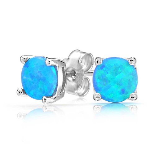 Bling Jewelry 925 Silver Round Synthetic Blue Opal Stud Earrings Basket Set (Blue Opal Earrings)