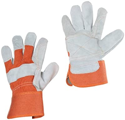 """West Chester 75525 Split Cowhide Leather Double Palm Glove with Canvas Back, Work, 2-1/2"""" Safety Cuff, 10-1/4"""" Length, (Pack of 3 Pairs)"""