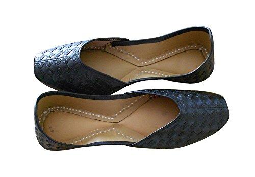 Traditionelle Creations Schuhe Designer Synthetische Damen Handarbeit Indische Kalra Schwarz fw6E4