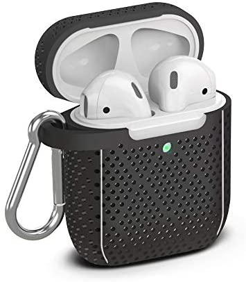 TalkWorks Hard Cover Case for AirPods - Protective Skin for AirPods Keychain Case Clip Compatible with Apple AirPods Carrying Case Series 1 & 2 - Black
