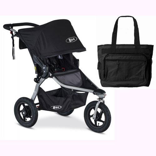 BOB Rambler Jogging Stroller - Black with FREE Diaper Bag by BOB