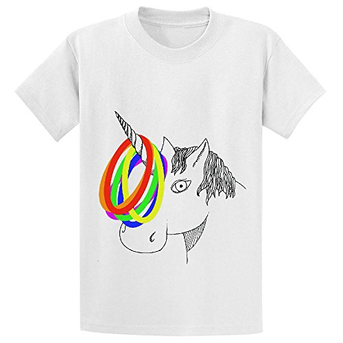 Unicorn Unicorn Game Girls Cotton Crew Neck T Shirts White (Kids Hobbit Feet)