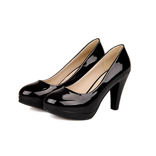VogueZone009 Womens Round Toe High Heels PU Patent Leather Solid Pumps with Platform and Burnished Black F6fvXSAuZq
