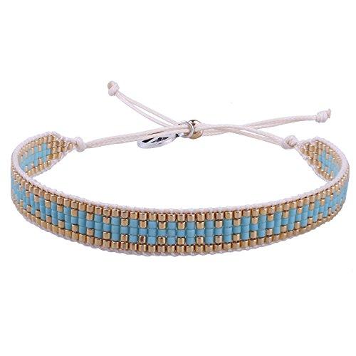 KELITCH Wax Rope Wrap Bracelets DIY Handmade Multi-Pattern Pearl Beaded New Friendship Bracelets Women/Girls Gift (Blue 03C)