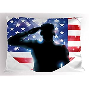 4th of July Decor Pillow Sham by Ambesonne, Funny French Bulldog with Sunglasses in American Costume Hiding Graphic Art, Decorative Standard King Size Printed Pillowcase, 36 X 20 Inches, Multi