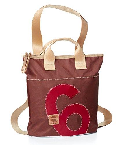360° Mini sac à dos en toile marron avec nombre rouge