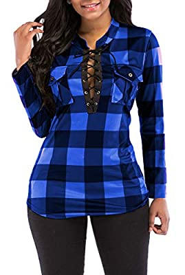 KISSMODA Women's Sexy Fitted Plaid Shirt Long Sleeves Blouses V Neck Tie Front Tops with Pockets