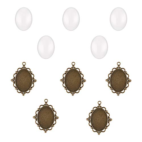 PH PandaHall 5 Sets - 5pcs Alloy Oval Cabochon Covers Bezel Pendant Trays and 5pcs Glass Cabochon Dome Tiles Clear Cameo for Crafting DIY Jewelry Making, Trays: 40x30mm