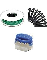 G greengrass tools Gereedschapskabelreparatieset + haakconnector voor robotmaaier, begrenzingsdraad haringen klemmen - compatibel met Husqvarna Automower Gardena Worx Yard Force, set: 5 m + 10 H + 4 V
