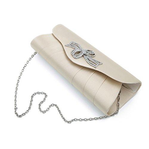 Elegant Satin Flap Rhinestones Flower Ribbon Clutch Evening Bag, Beige