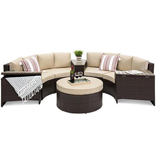 Best Choice Products 8-Piece Half Circle Wicker Sectional Sofa Set w/Waterproof Cushions, Wedge Storage Tables - Brown ()